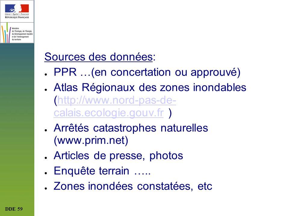 DDE 59 Sources des données: PPR …(en concertation ou approuvé) Atlas Régionaux des zones inondables (http://www.nord-pas-de- calais.ecologie.gouv.fr )