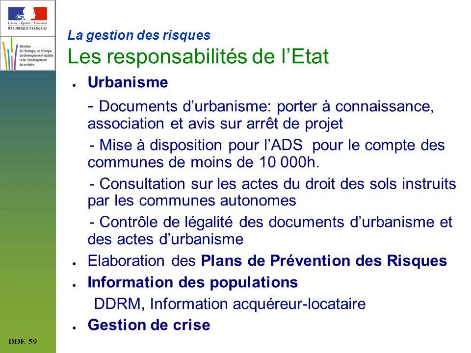 DDE 59 La gestion des risques Les responsabilités de lEtat Urbanisme - Documents durbanisme: porter à connaissance, association et avis sur arrêt de p