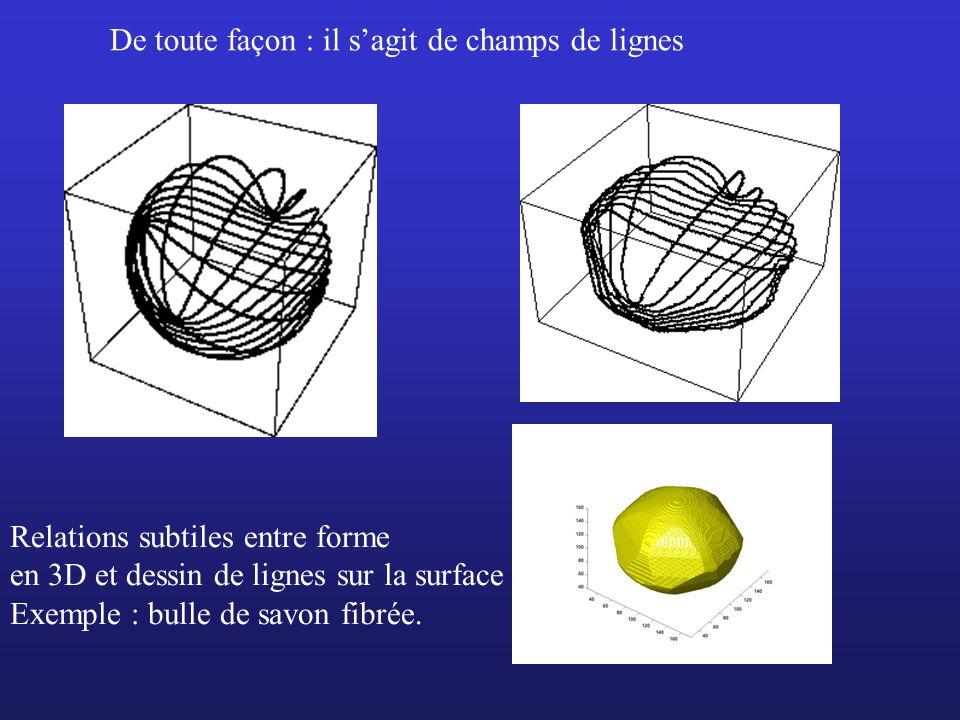 Relations subtiles entre forme en 3D et dessin de lignes sur la surface Exemple : bulle de savon fibrée. De toute façon : il sagit de champs de lignes