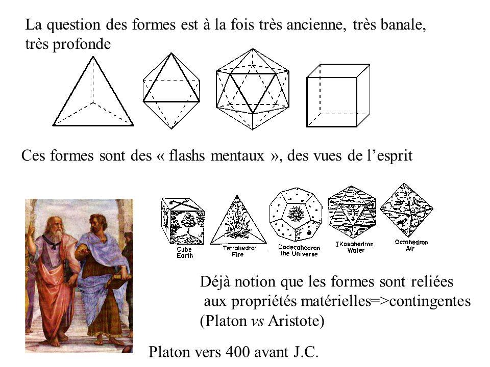Science des formes : longue histoire Solides platoniciens Déjà notion que les formes sont reliées aux propriétés matérielles=>contingentes (Platon vs