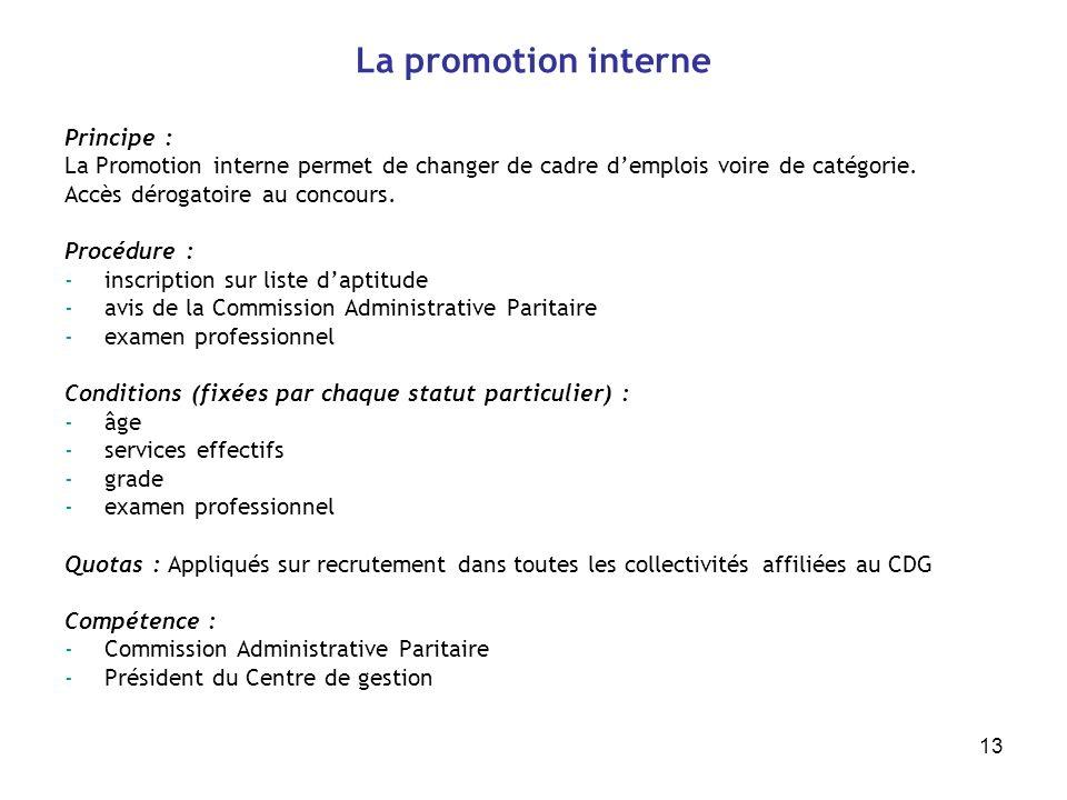 13 La promotion interne Principe : La Promotion interne permet de changer de cadre demplois voire de catégorie. Accès dérogatoire au concours. Procédu