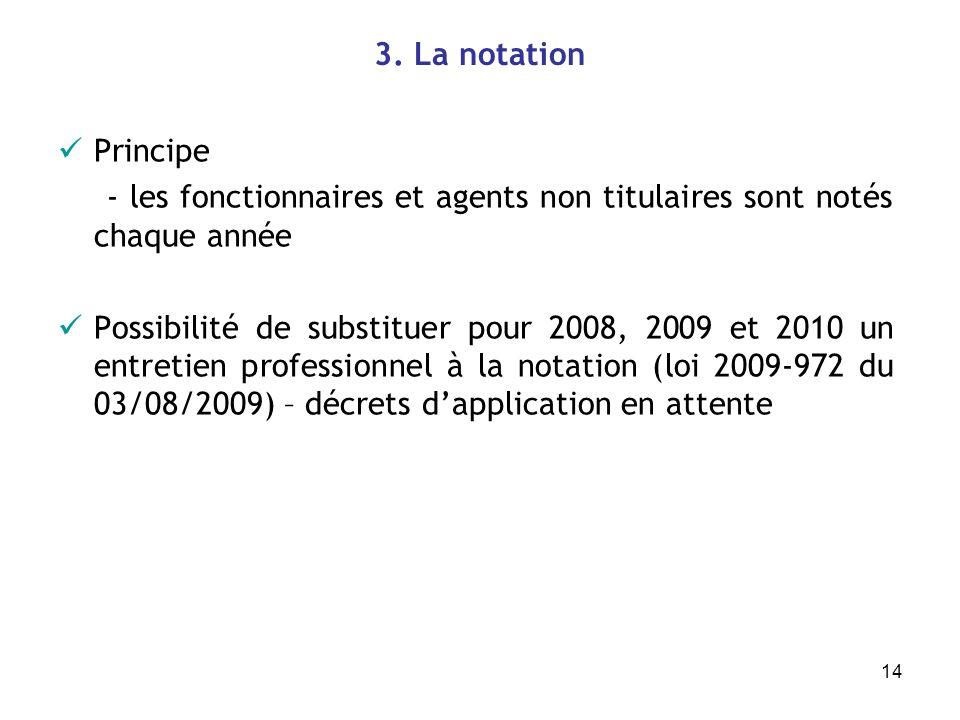 14 3. La notation Principe - les fonctionnaires et agents non titulaires sont notés chaque année Possibilité de substituer pour 2008, 2009 et 2010 un