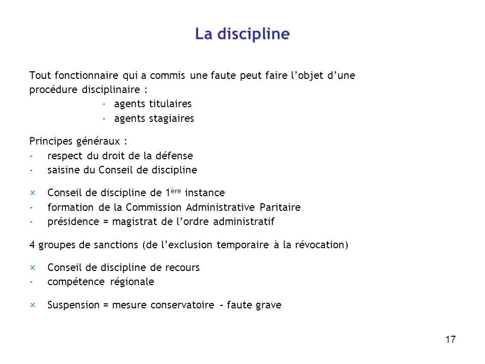 17 La discipline Tout fonctionnaire qui a commis une faute peut faire lobjet dune procédure disciplinaire : -agents titulaires -agents stagiaires Prin