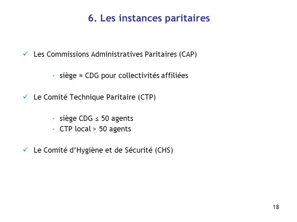 18 6. Les instances paritaires Les Commissions Administratives Paritaires (CAP) -siège = CDG pour collectivités affiliées Le Comité Technique Paritair