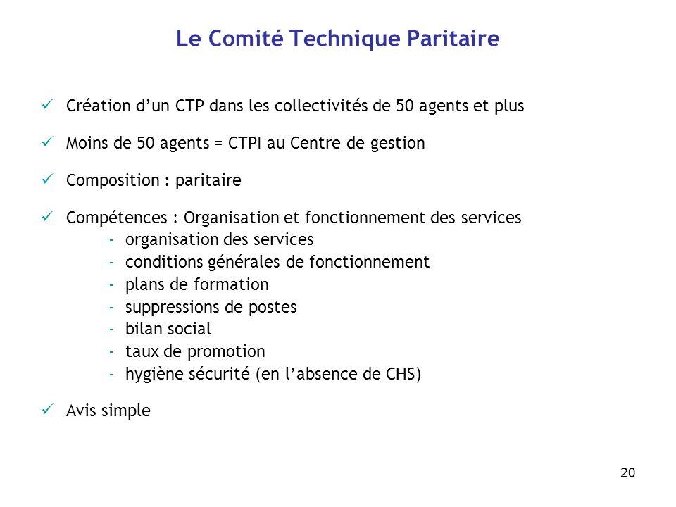 20 Le Comité Technique Paritaire Création dun CTP dans les collectivités de 50 agents et plus Moins de 50 agents = CTPI au Centre de gestion Compositi