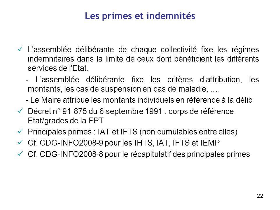 22 Les primes et indemnités L'assemblée délibérante de chaque collectivité fixe les régimes indemnitaires dans la limite de ceux dont bénéficient les