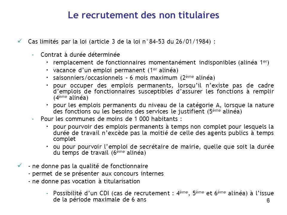 6 Le recrutement des non titulaires Cas limités par la loi (article 3 de la loi n°84-53 du 26/01/1984) : -Contrat à durée déterminée remplacement de f