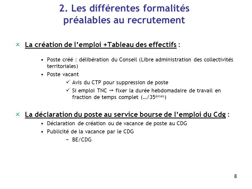 8 2. Les différentes formalités préalables au recrutement La création de lemploi +Tableau des effectifs : Poste créé : délibération du Conseil (Libre