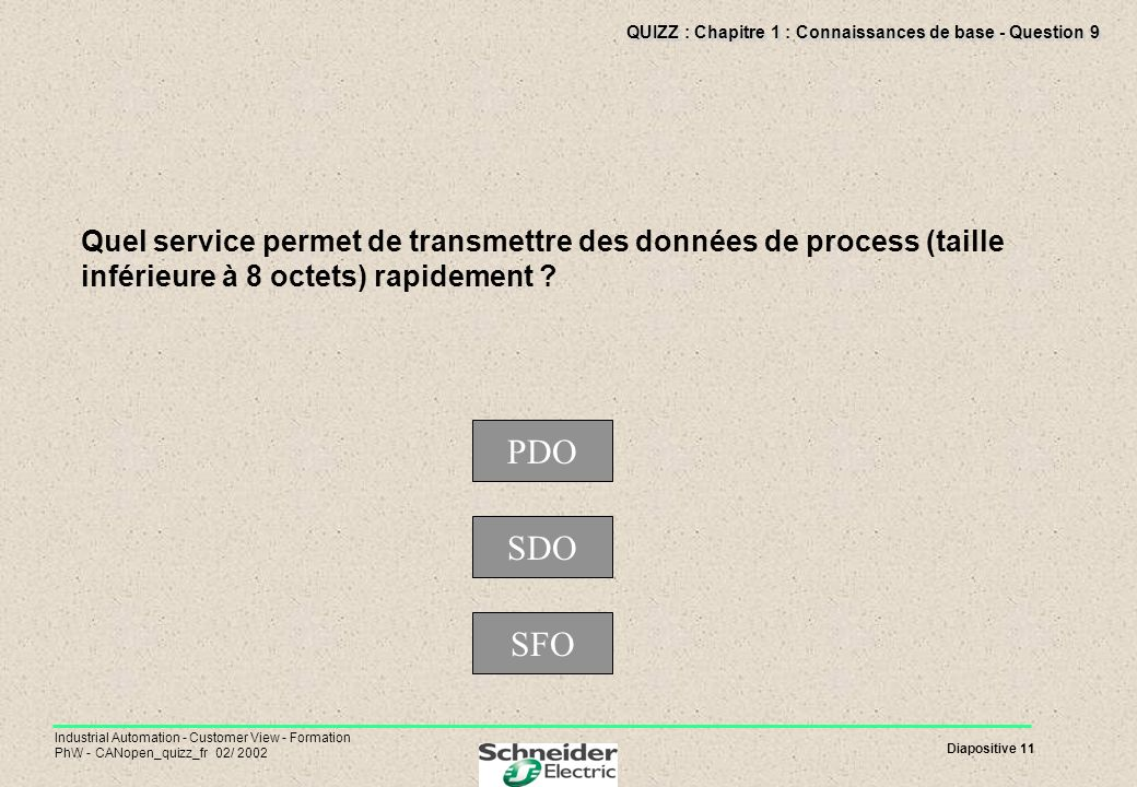 Diapositive 11 Industrial Automation - Customer View - Formation PhW - CANopen_quizz_fr 02/ 2002 QUIZZ : Chapitre 1 : Connaissances de base - Question