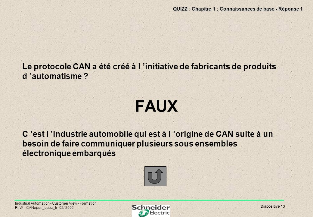 Diapositive 13 Industrial Automation - Customer View - Formation PhW - CANopen_quizz_fr 02/ 2002 QUIZZ : Chapitre 1 : Connaissances de base - Réponse