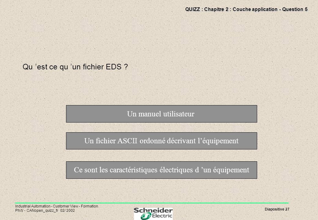 Diapositive 27 Industrial Automation - Customer View - Formation PhW - CANopen_quizz_fr 02/ 2002 QUIZZ : Chapitre 2 : Couche application - Question 5