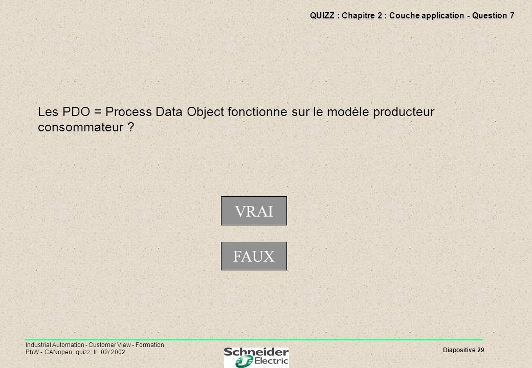 Diapositive 29 Industrial Automation - Customer View - Formation PhW - CANopen_quizz_fr 02/ 2002 QUIZZ : Chapitre 2 : Couche application - Question 7