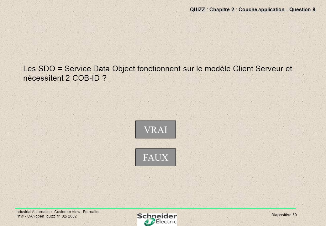 Diapositive 30 Industrial Automation - Customer View - Formation PhW - CANopen_quizz_fr 02/ 2002 QUIZZ : Chapitre 2 : Couche application - Question 8