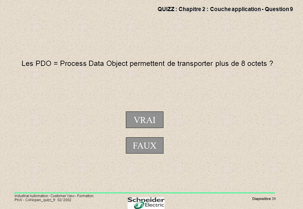 Diapositive 31 Industrial Automation - Customer View - Formation PhW - CANopen_quizz_fr 02/ 2002 QUIZZ : Chapitre 2 : Couche application - Question 9