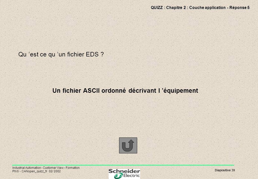 Diapositive 39 Industrial Automation - Customer View - Formation PhW - CANopen_quizz_fr 02/ 2002 QUIZZ : Chapitre 2 : Couche application - Réponse 5 Q