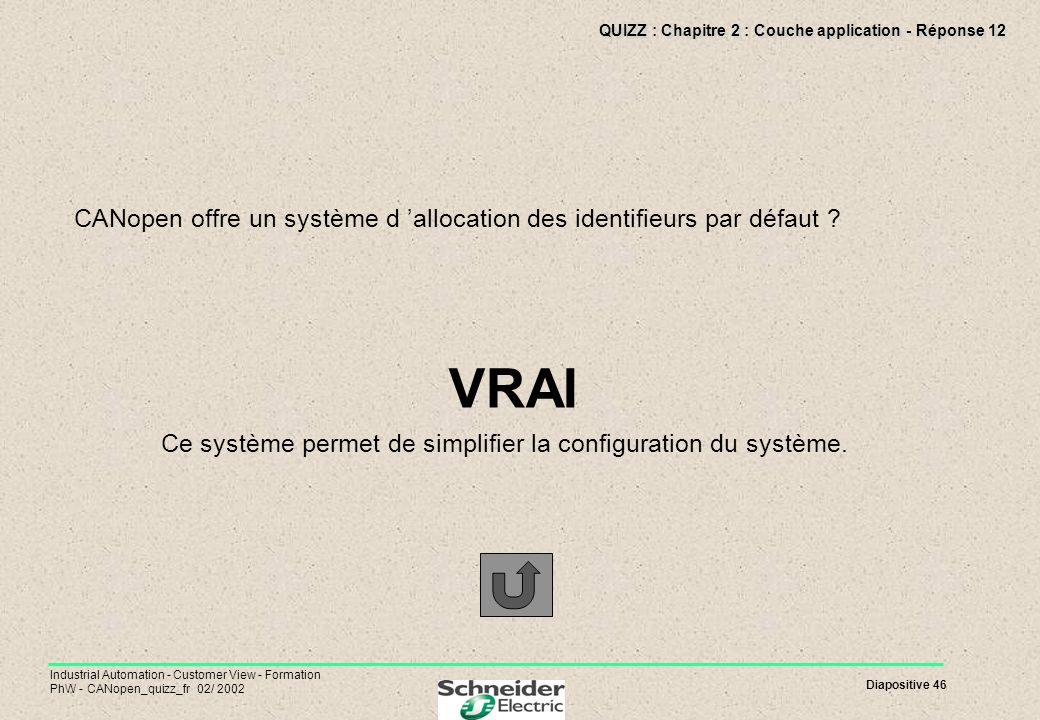 Diapositive 46 Industrial Automation - Customer View - Formation PhW - CANopen_quizz_fr 02/ 2002 QUIZZ : Chapitre 2 : Couche application - Réponse 12
