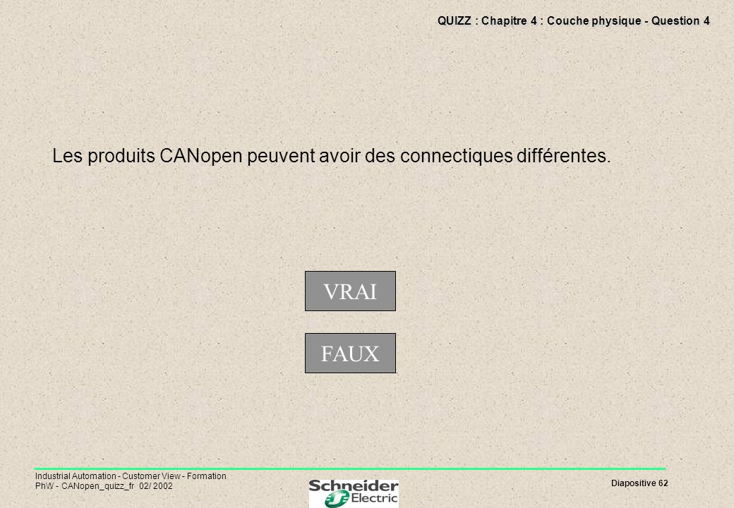 Diapositive 62 Industrial Automation - Customer View - Formation PhW - CANopen_quizz_fr 02/ 2002 QUIZZ : Chapitre 4 : Couche physique - Question 4 Les