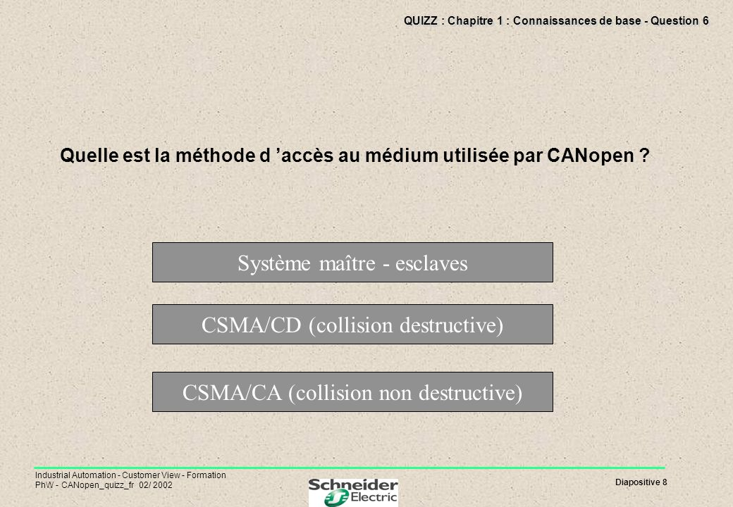 Diapositive 8 Industrial Automation - Customer View - Formation PhW - CANopen_quizz_fr 02/ 2002 QUIZZ : Chapitre 1 : Connaissances de base - Question