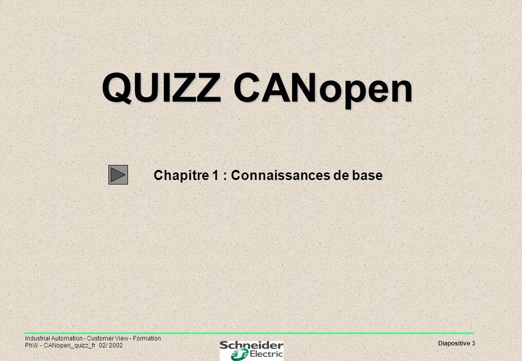 Diapositive 3 Industrial Automation - Customer View - Formation PhW - CANopen_quizz_fr 02/ 2002 QUIZZ CANopen QUIZZ CANopen Chapitre 1 : Connaissances