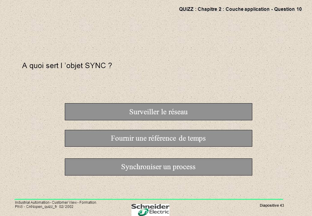 Diapositive 43 Industrial Automation - Customer View - Formation PhW - CANopen_quizz_fr 02/ 2002 QUIZZ : Chapitre 2 : Couche application - Question 10