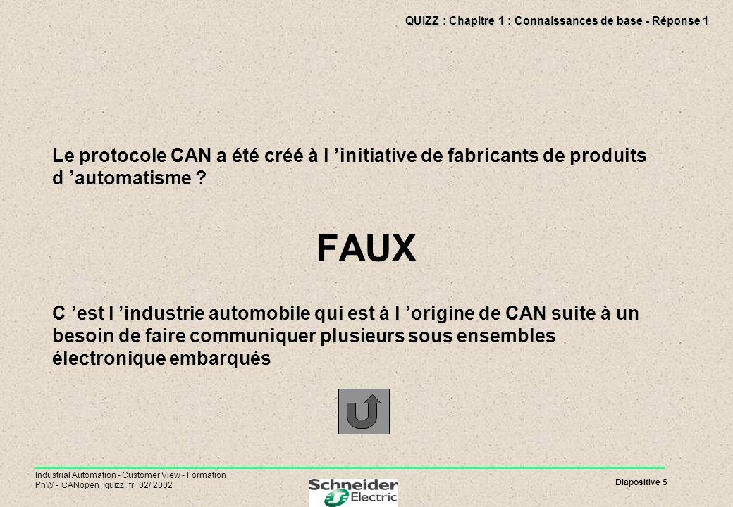 Diapositive 5 Industrial Automation - Customer View - Formation PhW - CANopen_quizz_fr 02/ 2002 QUIZZ : Chapitre 1 : Connaissances de base - Réponse 1