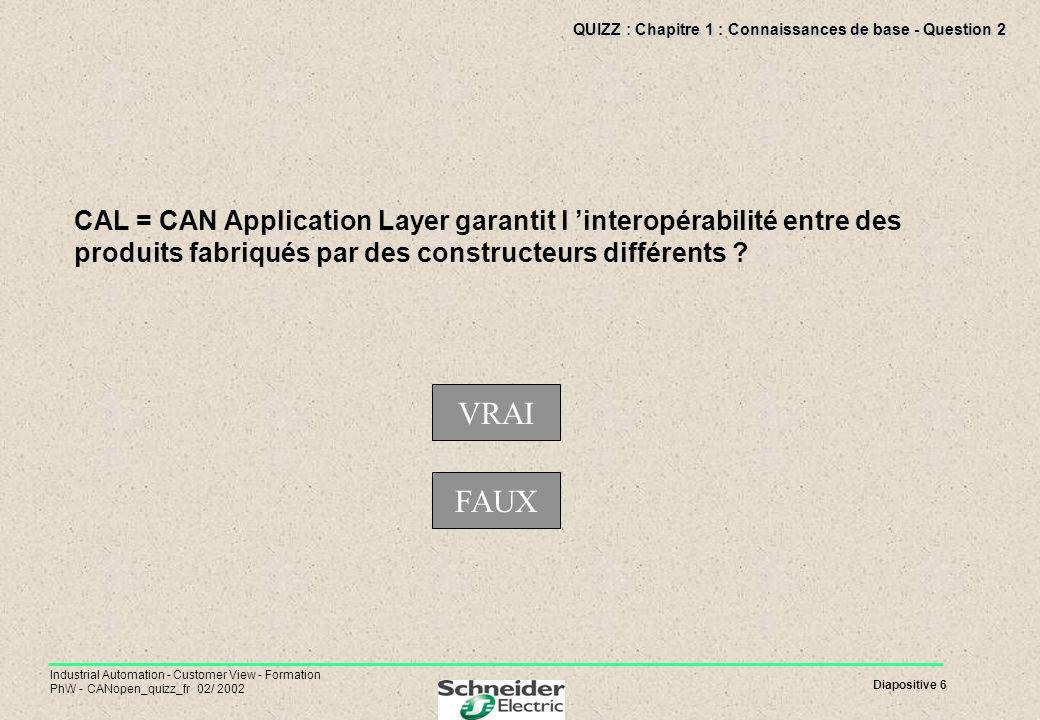 Diapositive 6 Industrial Automation - Customer View - Formation PhW - CANopen_quizz_fr 02/ 2002 QUIZZ : Chapitre 1 : Connaissances de base - Question