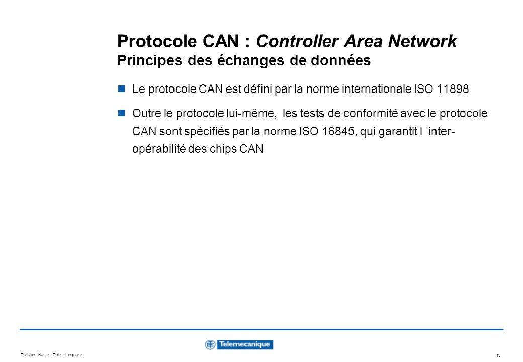 Division - Name - Date - Language 13 Protocole CAN : Controller Area Network Principes des échanges de données Le protocole CAN est défini par la norm
