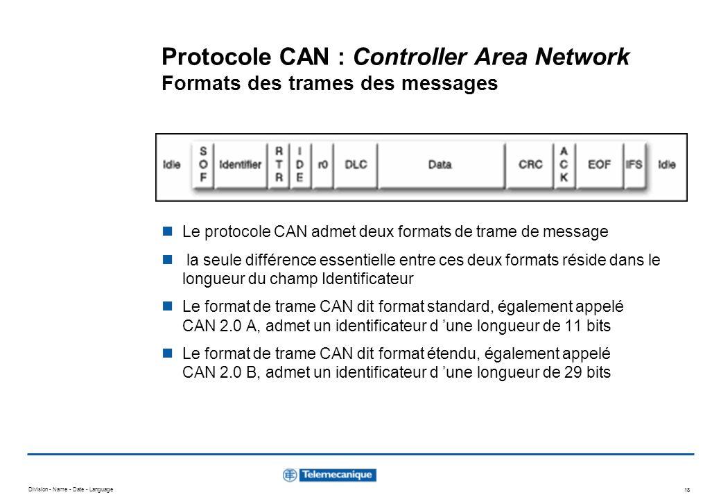 Division - Name - Date - Language 18 Le protocole CAN admet deux formats de trame de message la seule différence essentielle entre ces deux formats ré