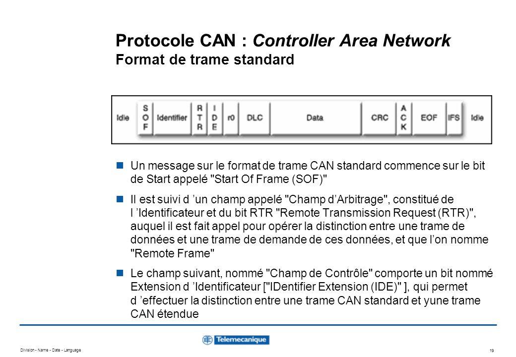 Division - Name - Date - Language 19 Protocole CAN : Controller Area Network Format de trame standard Un message sur le format de trame CAN standard c