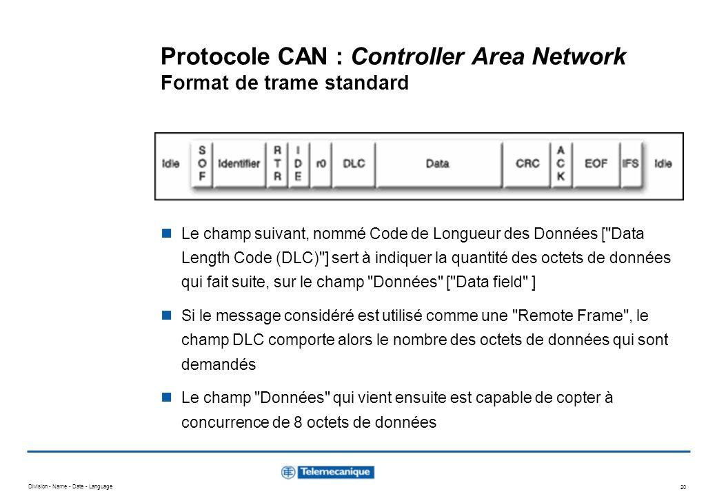 Division - Name - Date - Language 20 Protocole CAN : Controller Area Network Format de trame standard Le champ suivant, nommé Code de Longueur des Don