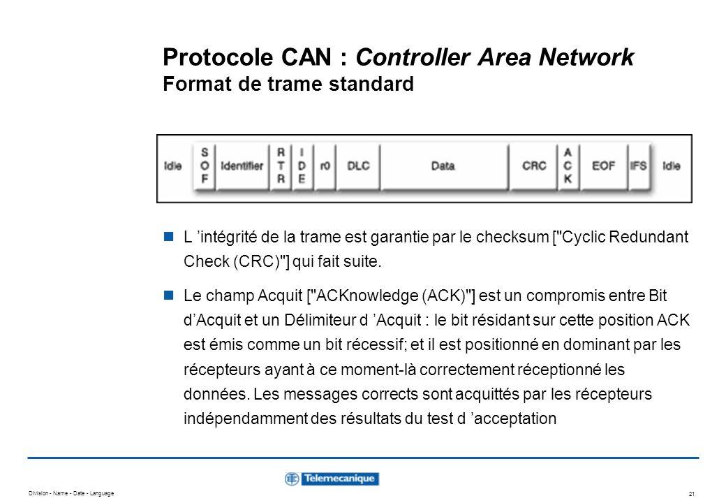 Division - Name - Date - Language 21 Protocole CAN : Controller Area Network Format de trame standard L intégrité de la trame est garantie par le chec
