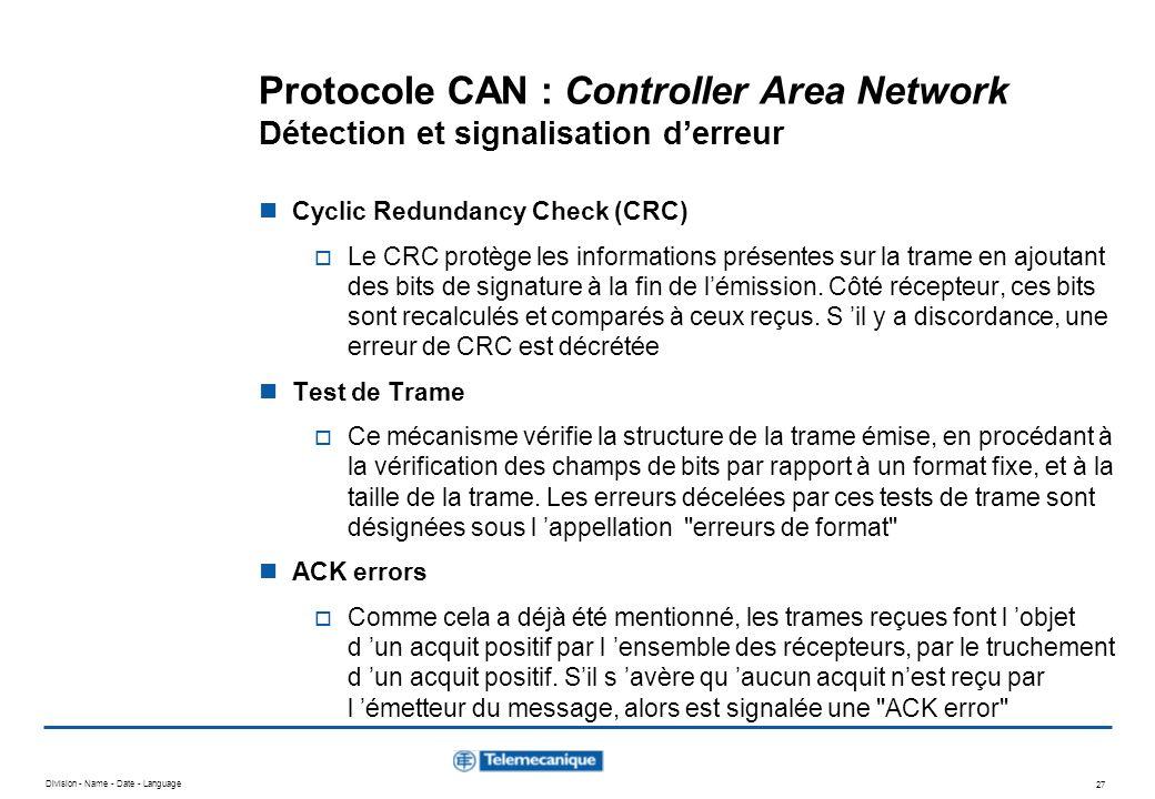 Division - Name - Date - Language 27 Protocole CAN : Controller Area Network Détection et signalisation derreur Cyclic Redundancy Check (CRC) Le CRC p