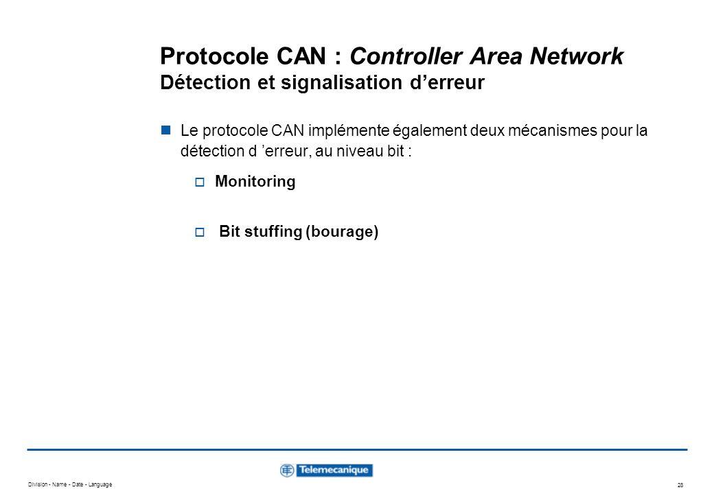 Division - Name - Date - Language 28 Protocole CAN : Controller Area Network Détection et signalisation derreur Le protocole CAN implémente également