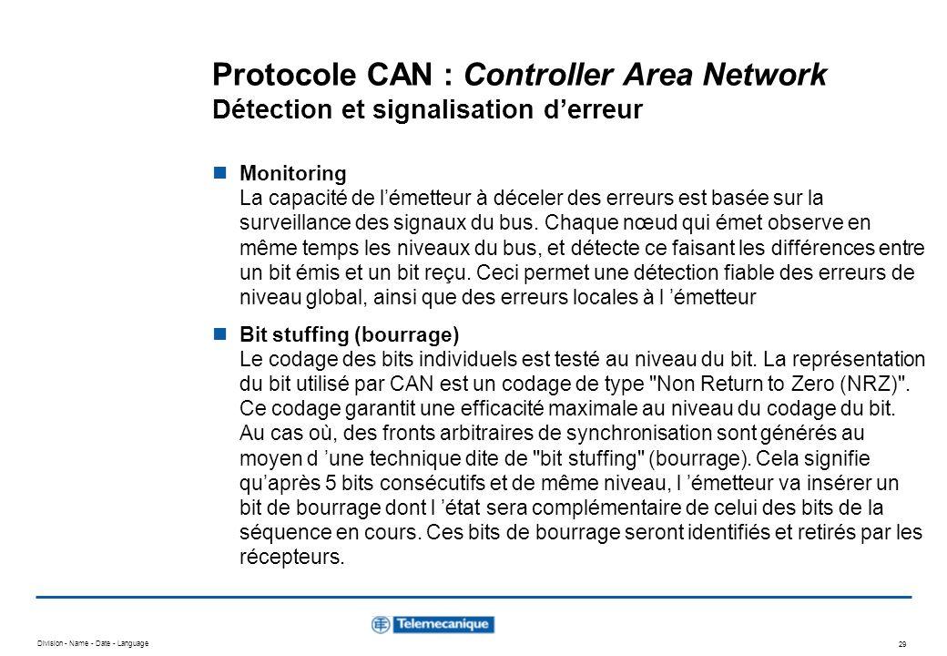 Division - Name - Date - Language 29 Protocole CAN : Controller Area Network Détection et signalisation derreur Monitoring La capacité de lémetteur à