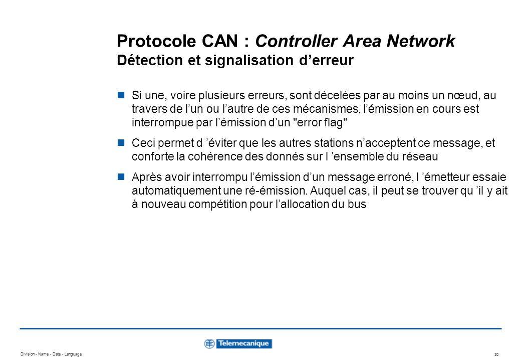 Division - Name - Date - Language 30 Protocole CAN : Controller Area Network Détection et signalisation derreur Si une, voire plusieurs erreurs, sont