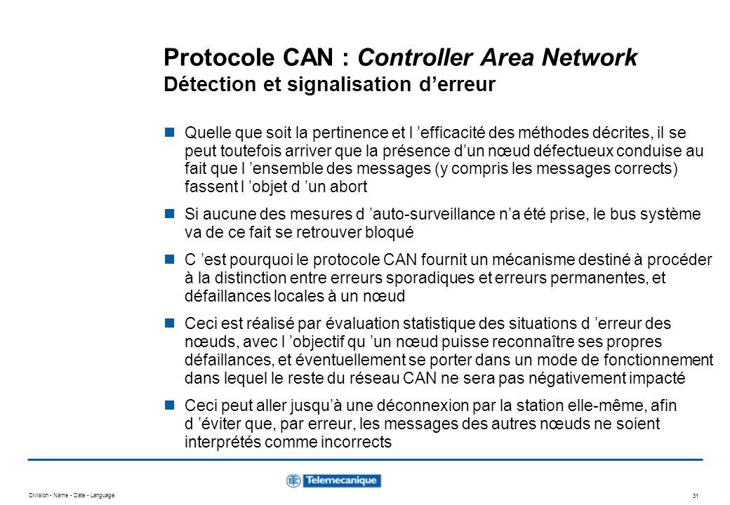 Division - Name - Date - Language 31 Protocole CAN : Controller Area Network Détection et signalisation derreur Quelle que soit la pertinence et l eff
