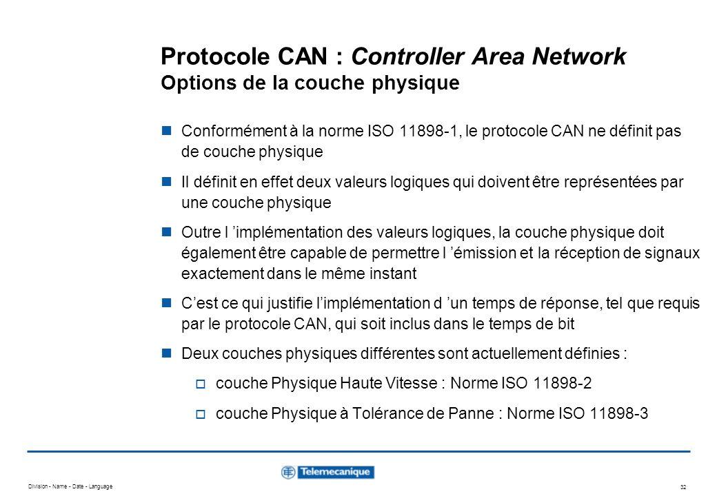Division - Name - Date - Language 32 Protocole CAN : Controller Area Network Options de la couche physique Conformément à la norme ISO 11898-1, le pro