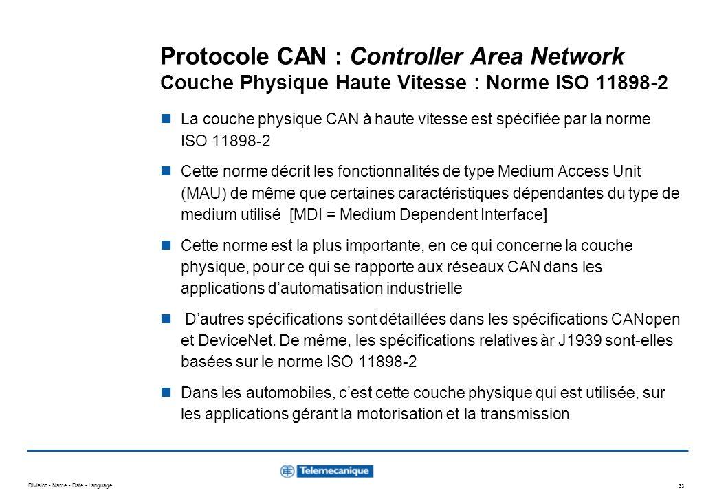 Division - Name - Date - Language 33 Protocole CAN : Controller Area Network Couche Physique Haute Vitesse : Norme ISO 11898-2 La couche physique CAN