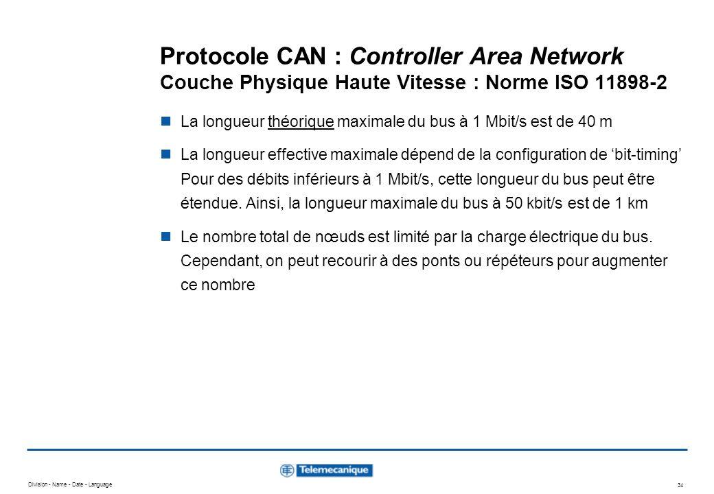 Division - Name - Date - Language 34 Protocole CAN : Controller Area Network Couche Physique Haute Vitesse : Norme ISO 11898-2 La longueur théorique m