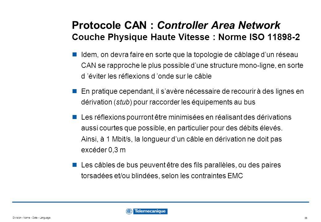 Division - Name - Date - Language 36 Protocole CAN : Controller Area Network Couche Physique Haute Vitesse : Norme ISO 11898-2 Idem, on devra faire en