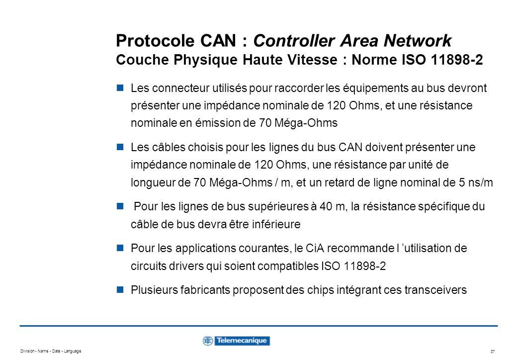 Division - Name - Date - Language 37 Protocole CAN : Controller Area Network Couche Physique Haute Vitesse : Norme ISO 11898-2 Les connecteur utilisés