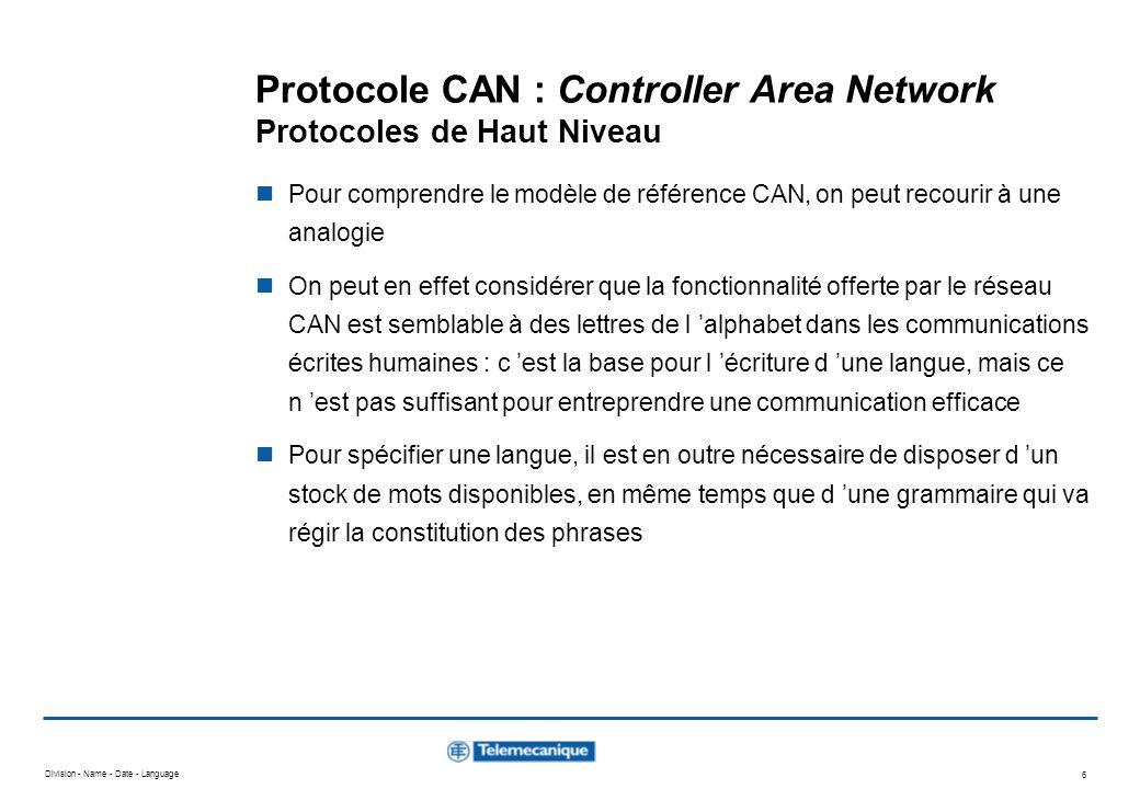 Division - Name - Date - Language 6 Protocole CAN : Controller Area Network Protocoles de Haut Niveau Pour comprendre le modèle de référence CAN, on p