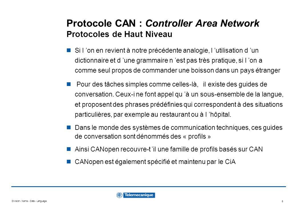 Division - Name - Date - Language 8 Protocole CAN : Controller Area Network Protocoles de Haut Niveau Si l on en revient à notre précédente analogie,