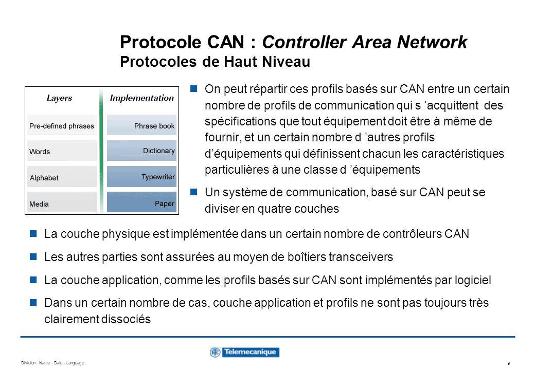 Division - Name - Date - Language 9 Protocole CAN : Controller Area Network Protocoles de Haut Niveau On peut répartir ces profils basés sur CAN entre