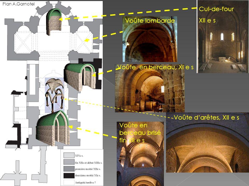 Voûte darêtes, XII e s Cul-de-four XII e s Voûte en berceau brisé fin XII e s Voûte en berceau, XI e s Voûte lombarde Plan A.Garnotel