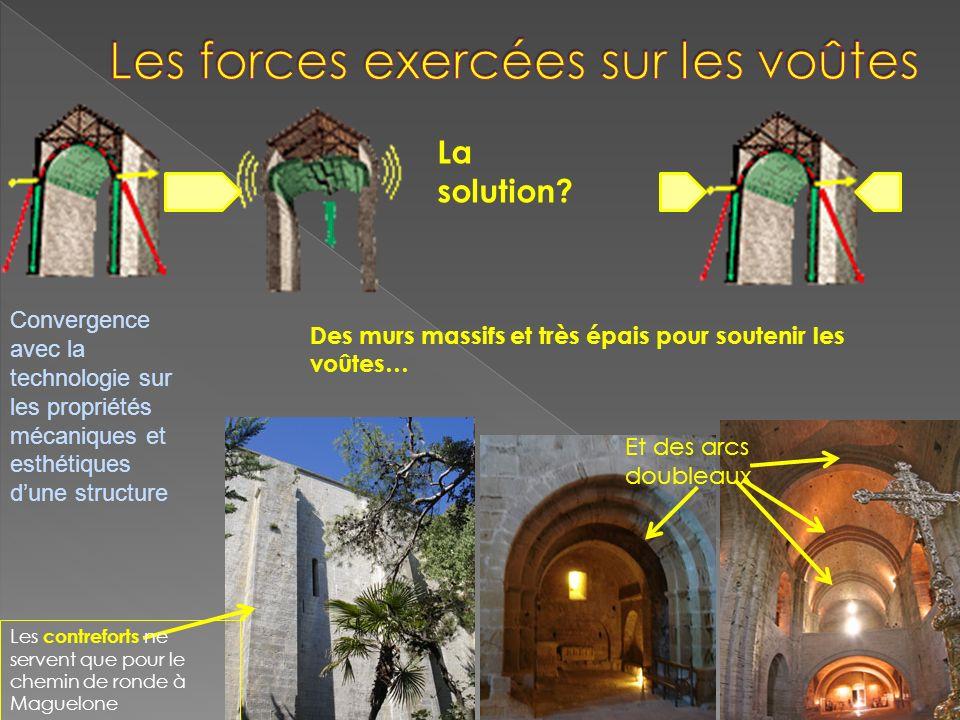 Des murs massifs et très épais pour soutenir les voûtes… Les contreforts ne servent que pour le chemin de ronde à Maguelone La solution.