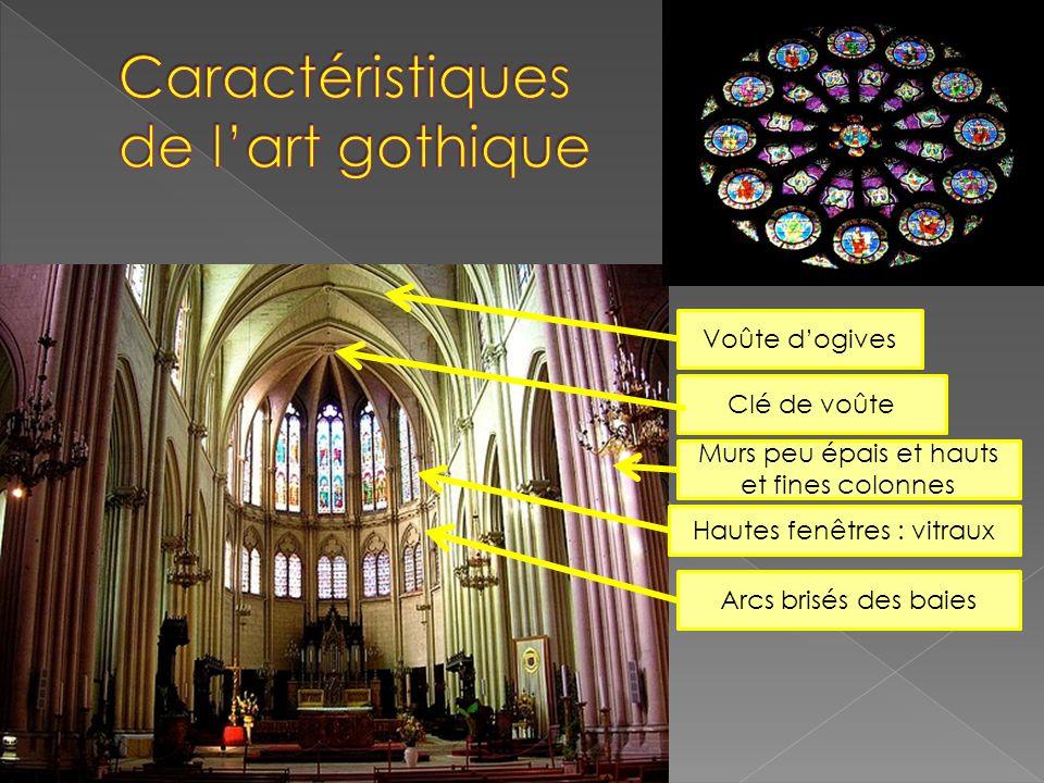 Voûte dogives Murs peu épais et hauts et fines colonnes Hautes fenêtres : vitraux Arcs brisés des baies Clé de voûte