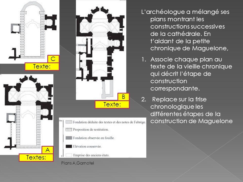 Larchéologue a mélangé ses plans montrant les constructions successives de la cathédrale.