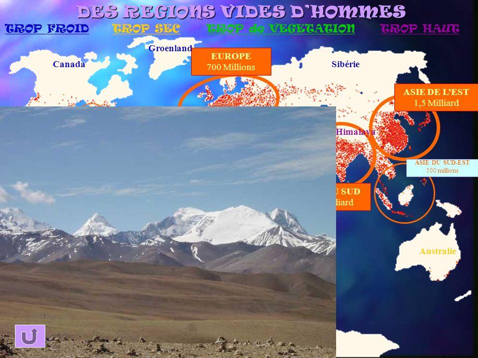 ASIE DE LEST 1,5 Milliard ASIE DU SUD 1,3 Milliard EUROPE 700 Millions SUD-EST DU BRESIL 90 millions NORD-EST DES ETATS-UNIS 140 millions ASIE DU SUD-EST 500 millions PROCHE-ORIENT 100 millions GOLFE DE GUINEE 160 millions Sahara Canada Groenland Sibérie Arabie Antarctique Australie Amazonie LA REPARTITION DE LA POPULATION MONDIALE Himalaya Grand foyer de peuplement Foyer de peuplement secondaire Désert humain.