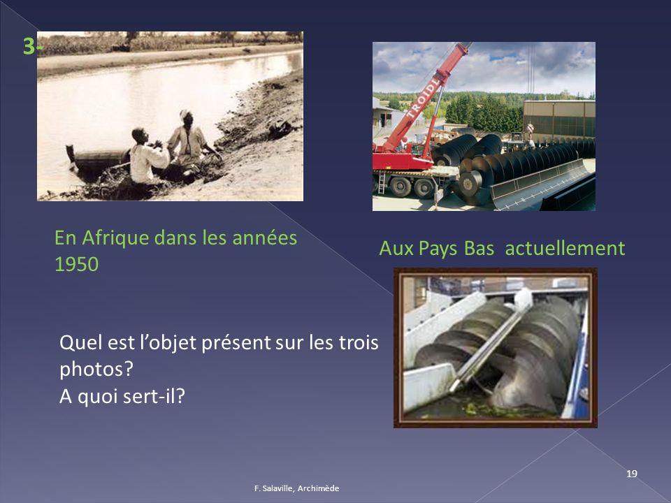 F. Salaville, Archimède 19 En Afrique dans les années 1950 Aux Pays Bas actuellement 3- Quel est lobjet présent sur les trois photos? A quoi sert-il?